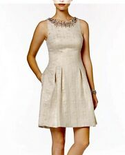 VINCE CAMUTO Dress Ivory Jacquard Fit And Flare Sleeveless XS 2 New Party