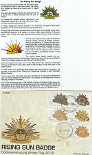 "2012 Rising Sun Badge Anzac Day set 5 stamps on limited edition ""K"" Covers FDC"
