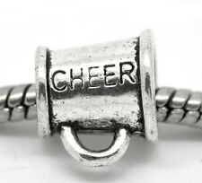 Cheerleader Cheer Megaphone Mom Sports Bead fits Silver European Charm Bracelets