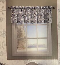 Christmas Valance Window Decor Silver Snowman  Holly Tree Snowflakes Swag FLORAL