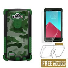 Tri Shield Phone Case for LG G4 w/ kickstand & screen protector - Green Camo