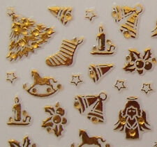 Nail Art 3D Sticker Goldtone Crystal Christmas Angel Tree Star Bell 87pcs/sheet