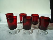 Set 6  Vintage 1970S Ruby Red Arcoroc  sherry/ liqueur glasses - France
