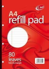 80 Sheet A4 Refill Pad Paper Feint Ruled  Margin School Office College