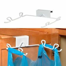 Over Cabinet Steel Trash Bag Holder Plastic Grocery Bags Organizer Recyclables