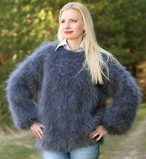 SUPERTANYA BLUISH GRAY GRAPHITE Hand Knitted Warm Mohair Sweater Fuzzy Pullover