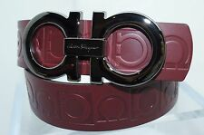 Salvatore Ferragamo Men's Red Belt Gancini Embossed Leather Size 32 Buckle NWT