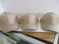 LOT OF 3-KHAKI/TAN CAPS/HATS-BLANK-BLACK SANDWICH TRIM-BY MOHR'S-