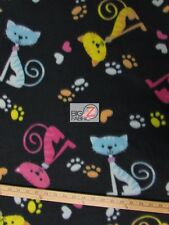 "CAT PRINT POLAR FLEECE FABRIC - Cat & Paws - 60"" WIDTH SOLD BY THE YARD 581"