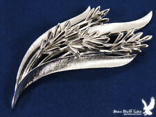 Vintage Trifari Crown Silvertone Leaf Weed Flower Scarf Lapel Pin
