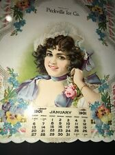Peckville Pennsylvania Ice Co Pretty Lady Diecut Calendar Sign 1901 Mint y