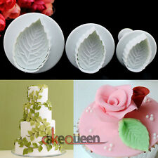 3PCS Veined Rose Leaf Mold Decorating DIY Tool Fondant Plunger Cutter Sugarcraft