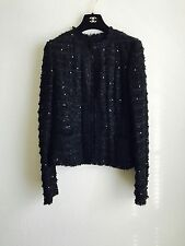 05P Chanel Classic Sequined Fringe-Trimmed Tweed Jacket 38 36