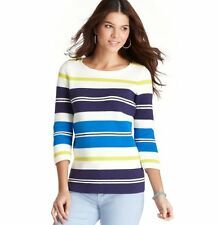 NWT Ann Taylor Loft Blue Sporty Chic Stripe Zip Shoulder 3/4 Slv Sweater $59 M