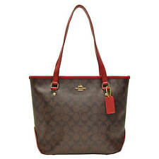 NWT Coach Sign Zip Top Tote Handbag in Brown Ture Red F 34603 $295