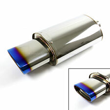 "FOR JAP CAR! 1X DEEP TONE RACING CHROME EXHAUST MUFFLER + 5.5"" BURNED OVAL TIP"