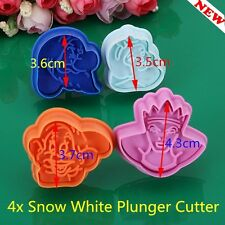 HOT 4Pcs Snow White Shape Fondant Cookie Plunger Cutter Mold Cake Decorating *KS