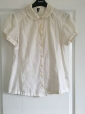 Topshop Cream White Cute Blouse Shirt Peter Pan Collar in UK Size 12