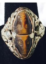 14K VINTAGE ANTIQUE CAMEO TIGER EYE RING     Size 7