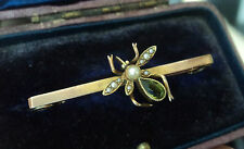 Vintage 14ct Gold Fly Insect Bar Brooch + Box c.1920 - Peridot & Seed Pearl