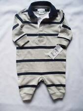 NEW Ralph Lauren Boys Grey Romper Baby Grow Suit 0-3m