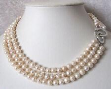 3 Reihen 7-8mm weißen Süßwasser-Zuchtperlen Halskette 43-49cm