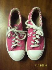 Converse Girls Size 3 Canvas Sneakers White Pink Shoe