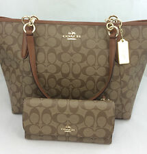 New Authentic COACH F55064 AVA Signature Tote Handbag Purse Shoulder Bag +Wallet