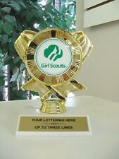 NEW BEAUTIFUL RIBBON GIRL SCOUT TROPHY AWARD FREE LETTERING NEW LOGO