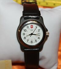 SWISS ARMY DATE BLACK LEATHER STRAP WOMEN'S WATCH WITH SWISS CROSS CHARM F91
