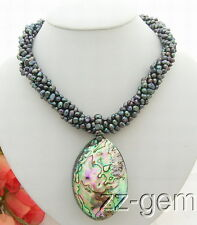 N0801013 6Strds Black Pearl&Abalone shell Pendant Necklace-Cameo Clasp