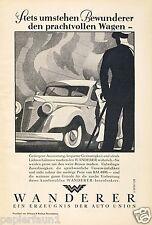 Auto Wanderer Orig. Reklame von 1935 Autounion Bewunderer Art Deco Oldtimer ad