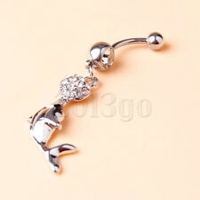 Dolphin Playing Ball Clear Gems Dangle Steel Ball Belly Button Navel Ring   YG