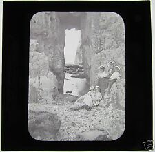 Lovely Historic Glass Magic lantern slide A VICTORIAN FAMILY BY THE SEASIDE