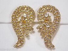 Gold W. Clear Rhinestone Drop Clip Evening Earrings ( USA SELLER )