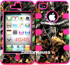 Apple IPhone 4 4s Hybrid Cover Case Silicone Branch wth Leaves Mossy Camo/Pink