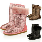GIRLS NEW KIDS SEQUIN FUR SNUGG WARM PULL ON WINTER BOOTS BOOTIES SHOES SIZE 7-2