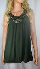 ANTHROPOLOGIE SAINS Golden Yoke Beaded Olive Green Sleevless Top Size Med