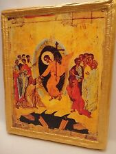 The Resurrection Anastasis Rare Byzantine Eastern Orthodox Icon Art on Real Wood
