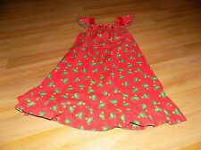 Size 8-10 Homemade Red Green Christmas Tree Candy Cane Print Holiday Dress EUC