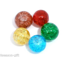 100Pcs Mixed(5Color) Crackle Glass Round Beads 8mm Dia.