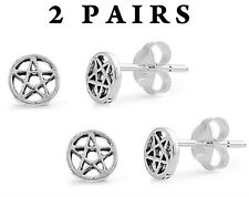 USA Seller 2pair Pentagram Star Stud Earrings Sterling Silver Bestseller Jewelry