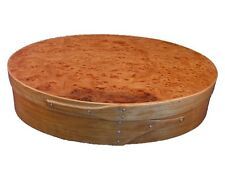 Shaker Sewing Button Box Small with Cherry Bands and Carpathian Elm Burl Top, La