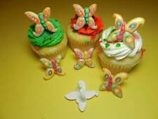 12 Colorful Butterfly Multicolored Rings Cupcake Toppers Cake Decorations Favors