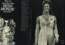 Coupure de Presse Clipping 1970 (2 pages) Miss Monde est Noire Jennifer Hosten