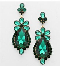 "3"" Green Emerald Gold Long Rhinestone Crystal Pageant Bridal Earrings Formal"