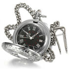 Silver Vintage Roman Numerals Stainless Steel Necklace Chain Quartz Pocket Watch