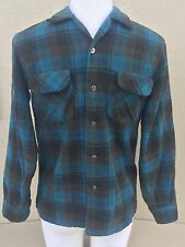 Vintage 60s 70s Pendleton Men's Plaid Flannel Shirt Wool Blue Medium M