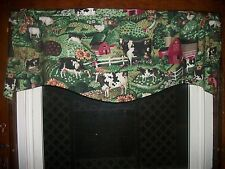 Cow Chicken Rooster Farm Sunflower Apple Country Kitchen fabric curtain Valance