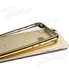 For Apple Iphone Models -Chrome Clear Slim Gel Case Cover Back + Screen Guard